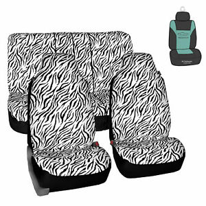 Universal Highback Seat Covers Full Set White Zebra For Auto Car Suv W Gift