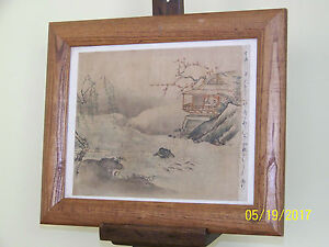Chinese School Qing Dy Ink Watercolor Silk Paper Inscribed Right Edge Signed