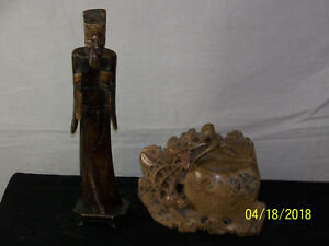 Chinese Hand Carved Stone Vase Bone Figure Sculpture Statue