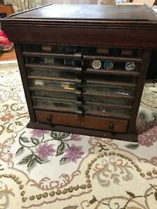 Antique 7 Drawer Thread Sewing Spool Cabinet Ca 1900 S