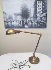 Antique Vintage Brass Lamp Light Architect Bankers Industrial Age Desk Table