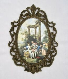 Vintage Action Cheswick Pa Brass Framed Picture Italy 8 1 2 Tall