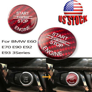 For Bmw E60 E70 E90 E92 E93 3series Engine Start Stop Switch Carbon Fiber Button