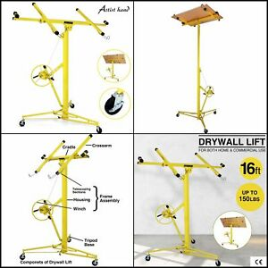 16 Drywall Lift Panel Hoist Jack Caster Lifter Wall Rolling Lockable New Yellow