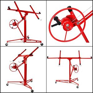 Lift Drywall Panel Hoist Jack Lifter 11 Wall Construction Lockable Rolling Red