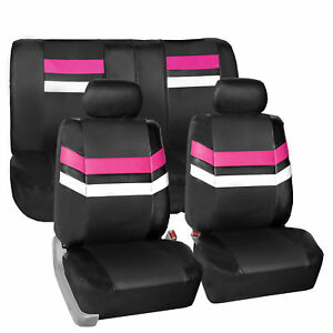 Pink Black Pu Leather Seat Covers Universal Fit Full Set For Car Suv Van Auto