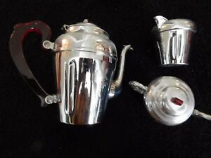 Antique Vintage Silverplate Tea Coffee Set 1950s