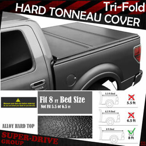 Fit 1999 2017 Ford F250 350 450 Super Duty 8ft Bed Hard Solid Tri Fold Tonneau C