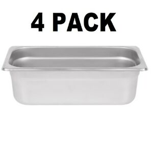 4 Pack 1 3 Size Stainless Steel Steam Prep Table Pan Commercial Food 4 Deep New