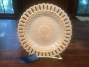 Wedgwood Rare Find 1880 S Creamware Reticulated Basket Weave Light Blue Plate