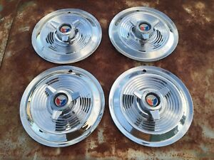 1963 1964 Ford Galaxie 500 Xl 406 427 Hipo 15 Spinner Hubcaps Stainless Chrome