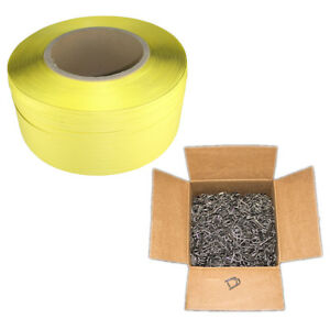 Yellow Polystrap Banding Coil Shipping Supply Box Of 1000 Self locking Buckles