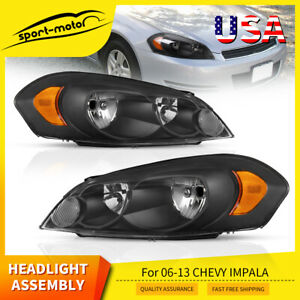 For 2006 2013 Chevy Impala Pair Black Housing Amber Corner Headlights lamp Set