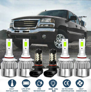 6x Cob Led Headlight fog Light Kit For Gmc Sierra 2003 2006 8000k Ice Blue Bulbs