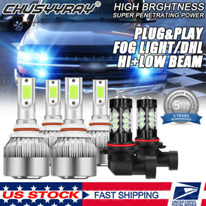 For Chevrolet Silverado 03 06 6x Cob Led Headlight fog Light 8000k Ice Blue Bulb