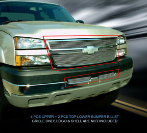 Chrome Billet Grille Combo For 2005 2007 Chevy Silverado 1500 1500hd 3500 2500hd