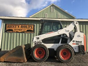 2015 Bobcat S590 Skid Steer Loader Enclosed Heat Plow Snow Low Cost Shipping