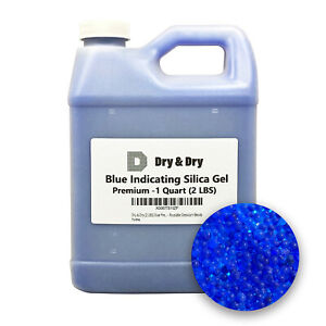 1 Quart Premium Blue Indicating Silica Gel Desiccant Beads 2 Lbs Rechargeable