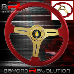 Fukushi Steering Wheel Red Wood Gold Center Streak 6 Bolt Hole 350mm Deep Dish