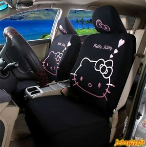 10 Piece Pink Heart Hello Kitty Car Seat Covers