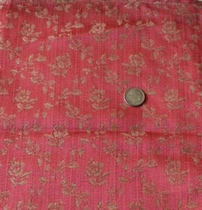 Antique C1890 French Silk Pink Rose Frame Fabric Sample L 24 X W 8 Dolls