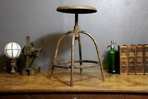 Vintage Architect Industrial Drafting Stool Metal Crank Swivel Seat Machinist