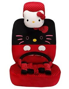 19 Piece Red And Black Polka Dot Big Face Hello Kitty Car Seat Covers