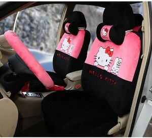 17 Piece Super Soft Pink And Black Hello Kitty And Bunny Car Seat Covers