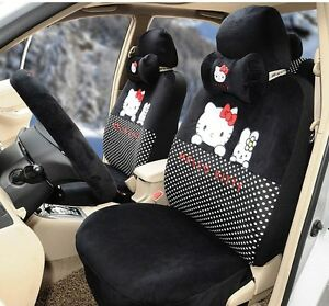 17 Piece Super Soft Black Hello Kitty And Bunny Car Seat Covers