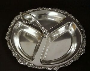 Sheridan Silverplate Candy Nut Divided Appetizer Dish Tray With Hand