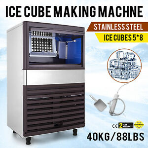 40kg 88lbs Intelligent Ice Cube Maker Machine 235w Ice cream Stores Cafes