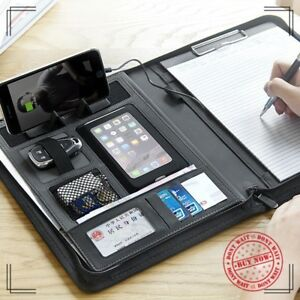 Multifunctional Business A4 Zipper Leather File Folder Briefcase Document Holder