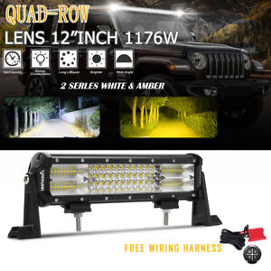 12inch Lens Quad row 1176w Led Light Bar Spot Flood Driving Lamps wiring Harness