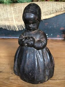 Antique Cast Iron Dutch Girl W Apple Door Stop
