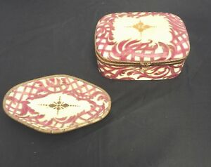 Antique French Porcelain Jewelry Casket Ring Tray Burgundy Hand Painted Signed