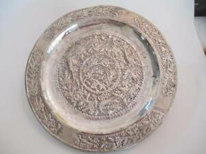 Antique Silver Dish Plate Tray Reticulated Hand Chased Hammered Birds