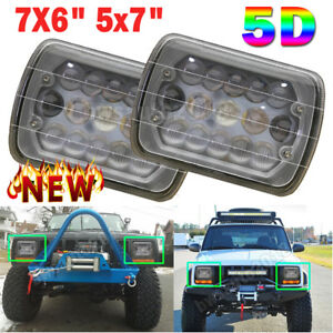 Pair Dot 7x6 5x7 5d Led Projector Headlight Hi Lo Beam For Jeep Cherokee Ford