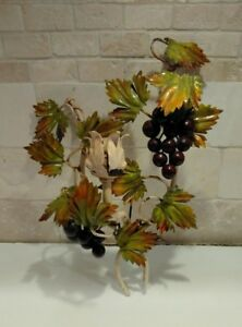 Vintage Italian Italy Tole Grapes Metal Wall 1 Candle Sconce Rustic Shabby Chic