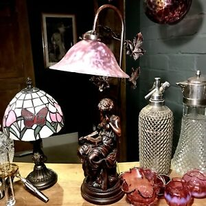Bronze Finished Reading Lady Lamp With Beautiful Blushed Pink Mottled Shade