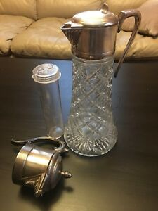 Antique 12 Glass Pitcher Carafe W Silver Plate Handle W Ice Insert Extra Lid