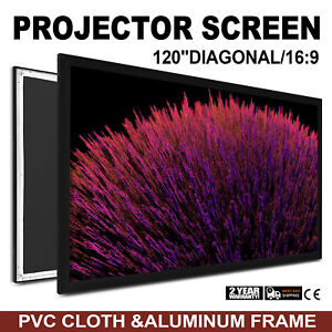 120 Inch Fixed Aluminum Frame Projector Screen Home Theatre Hd Tv Projection 3d