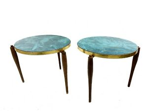 Mid Century Blue Top Stacking Tables Nesting Tables