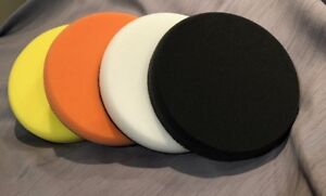 4 Pack 6 Inch Lake Country Foam Pads Yellow Orange White And Black Pad Kit