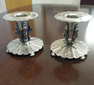 Antique Sterling Silver Candlesticks Heavy Ornate Art Nouveau Alvin Co