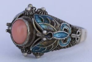 Fine Antique Sterling Silver Chinese Export Enamel Butterflies Coral Ring