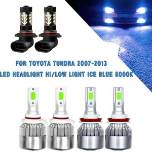 For Toyota Tundra 07 13 6x Cob Led Headlight fog Light 8000k Ice Blue Bulb Kit