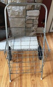 Vintage Grocery Store Shopping Cart Rolling Basket Metal Holder