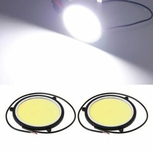 2x 90mm 12v Cob Led Car Auto Round Drl Daytime Running Light White Lights Hot