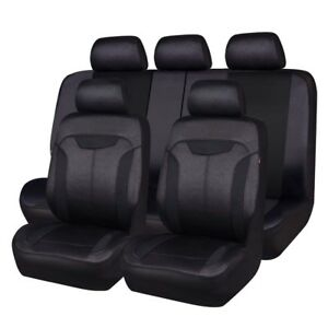 Carpass Car Seat Covers With Breathable Aritificial Leather Black Color Car Good