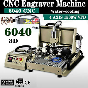 Usb 6040 Cnc Router Engraver Milling Machine Engraving Drilling 4 Axis 1500w Rc